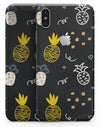 Golden Yellow Pineapple Over Black - iPhone X Skin-Kit