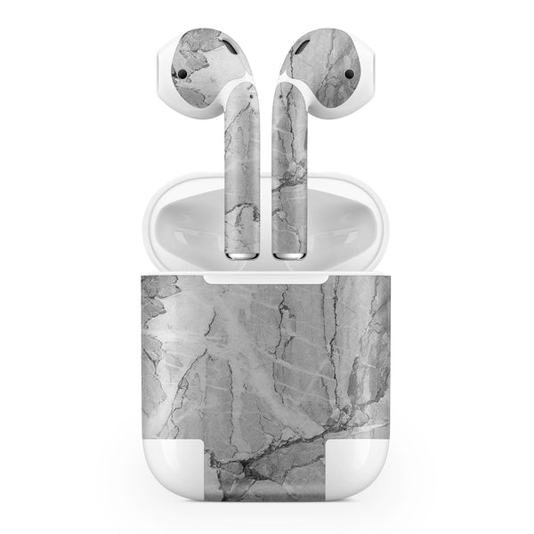 Gray Slate Marble - Full Body Skin Decal Wrap Kit for the Wireless Bluetooth Apple Airpods Pro, AirPods Gen 1 or Gen 2 with Wireless Charging