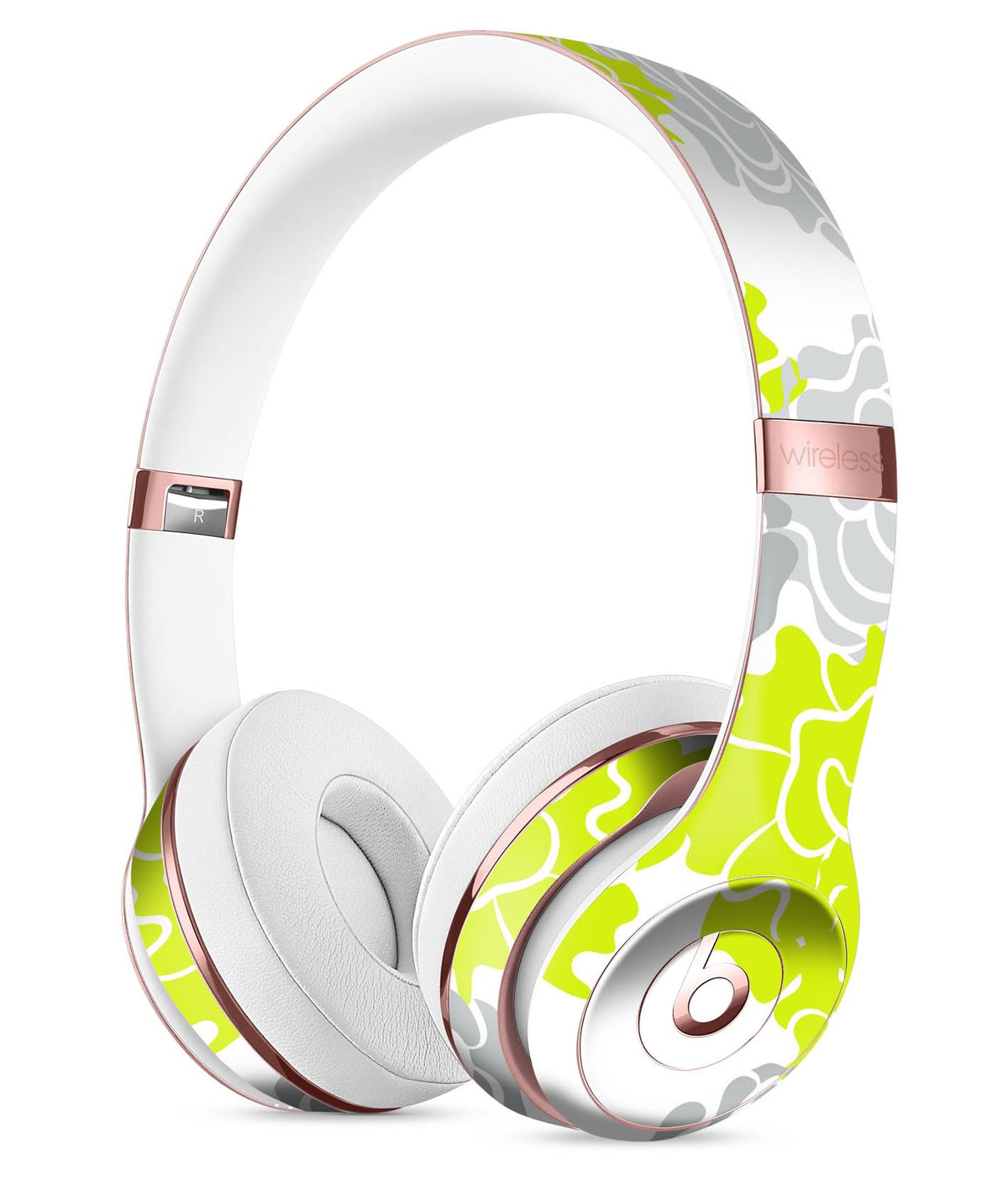 Gray And Lime Green Cartoon Roses Full Body Skin Kit For The Beats