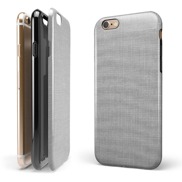 Gray and White Scratched Fabric iPhone 6/6s or 6/6s Plus 2-Piece Hybrid INK-Fuzed Case