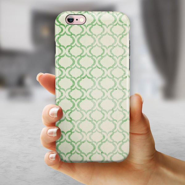 Green Bubble Morrocan Pattern iPhone 6/6s or 6/6s Plus 2-Piece Hybrid INK-Fuzed Case