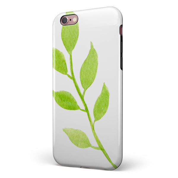 Green Watercolor Branch iPhone 6/6s or 6/6s Plus 2-Piece Hybrid INK-Fuzed Case