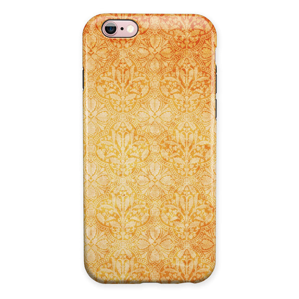 Grunge Coral Damask Pattern iPhone 6/6s or 6/6s Plus 2-Piece Hybrid INK-Fuzed Case