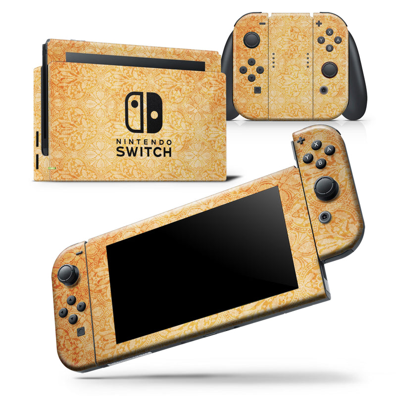 Grunge Coral Damask Pattern - Skin Wrap Decal for Nintendo Switch Lite Console & Dock - 3DS XL - 2DS - Pro - DSi - Wii - Joy-Con Gaming Controller
