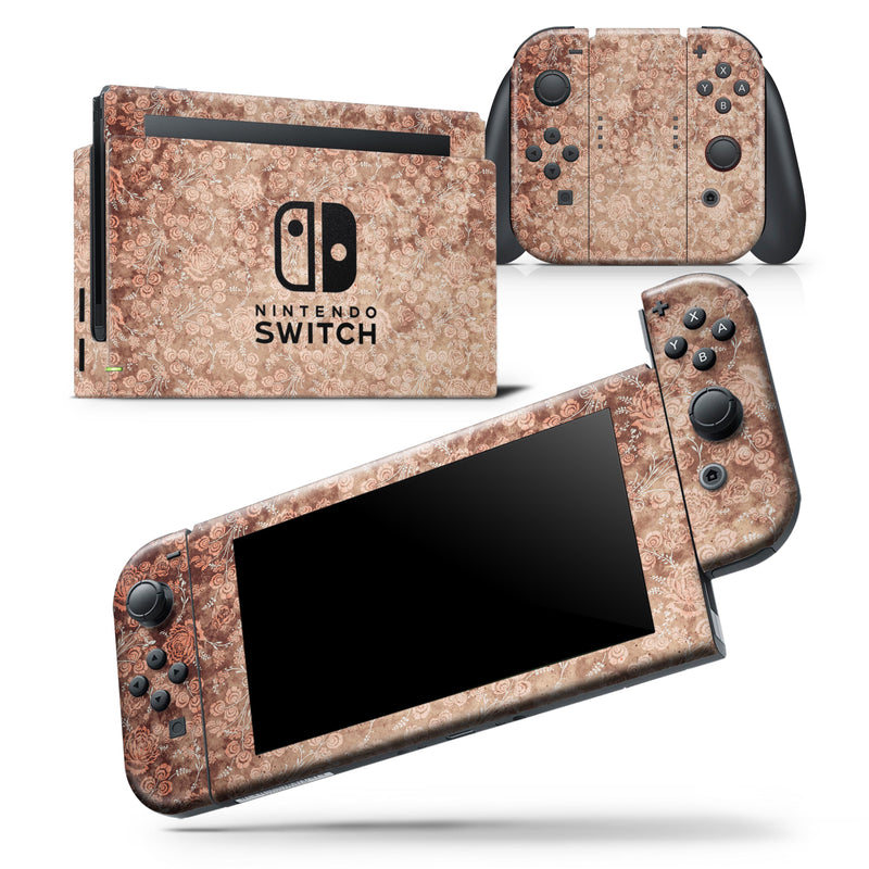 Grunge Floral Abstract Pattern  - Skin Wrap Decal for Nintendo Switch Lite Console & Dock - 3DS XL - 2DS - Pro - DSi - Wii - Joy-Con Gaming Controller