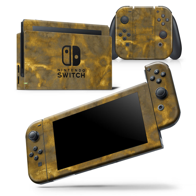 Grunge Golden Caverns - Skin Wrap Decal for Nintendo Switch Lite Console & Dock - 3DS XL - 2DS - Pro - DSi - Wii - Joy-Con Gaming Controller