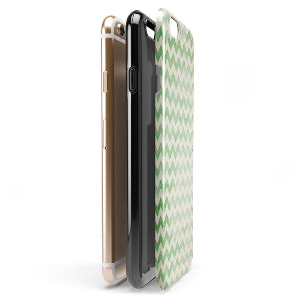 Grunge Green Horizontal Chevron Pattern  iPhone 6/6s or 6/6s Plus 2-Piece Hybrid INK-Fuzed Case