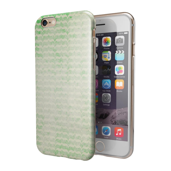 Grunge Green Micro Mustache Pattern iPhone 6/6s or 6/6s Plus 2-Piece Hybrid INK-Fuzed Case