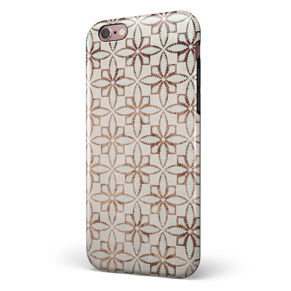 Grunge Tangerine Flower Tiles iPhone 6/6s or 6/6s Plus 2-Piece Hybrid INK-Fuzed Case