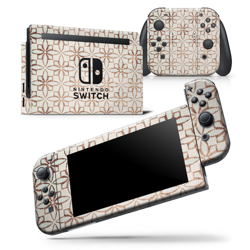 Grunge Tangerine Flower Tiles - Skin Wrap Decal for Nintendo Switch Lite Console & Dock - 3DS XL - 2DS - Pro - DSi - Wii - Joy-Con Gaming Controller