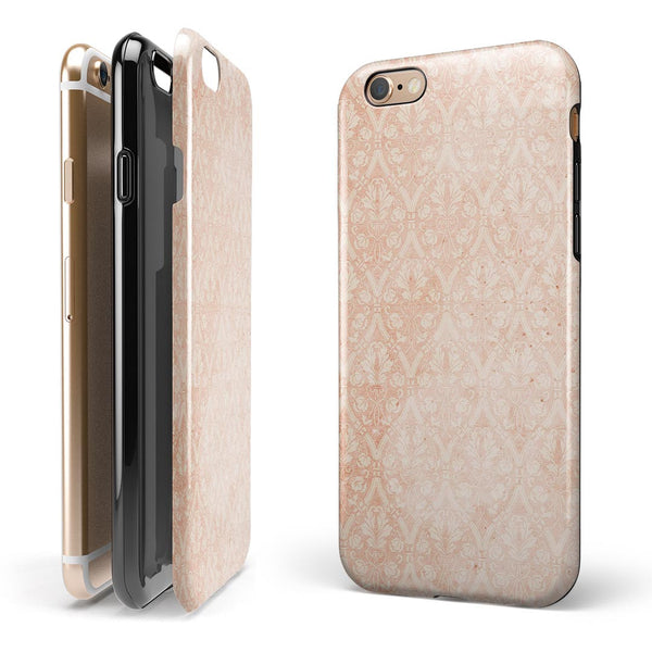 Grunge Tangerine Pattern Of Royalty iPhone 6/6s or 6/6s Plus 2-Piece Hybrid INK-Fuzed Case