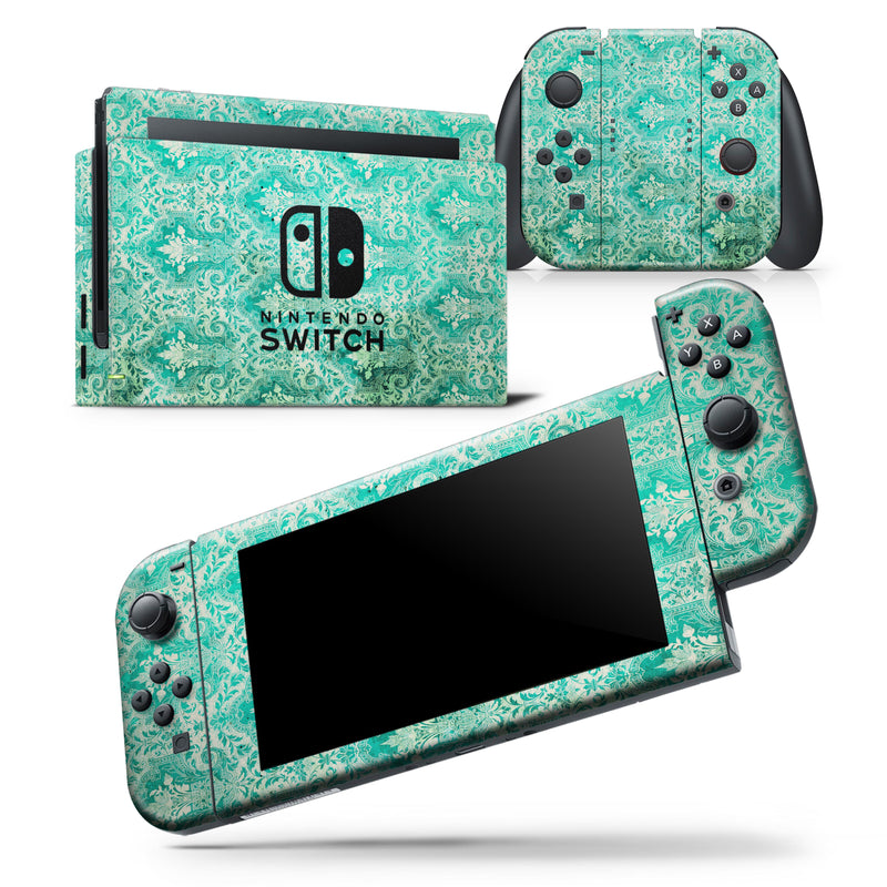 Grunge Teal Damask Pattern - Skin Wrap Decal for Nintendo Switch Lite Console & Dock - 3DS XL - 2DS - Pro - DSi - Wii - Joy-Con Gaming Controller