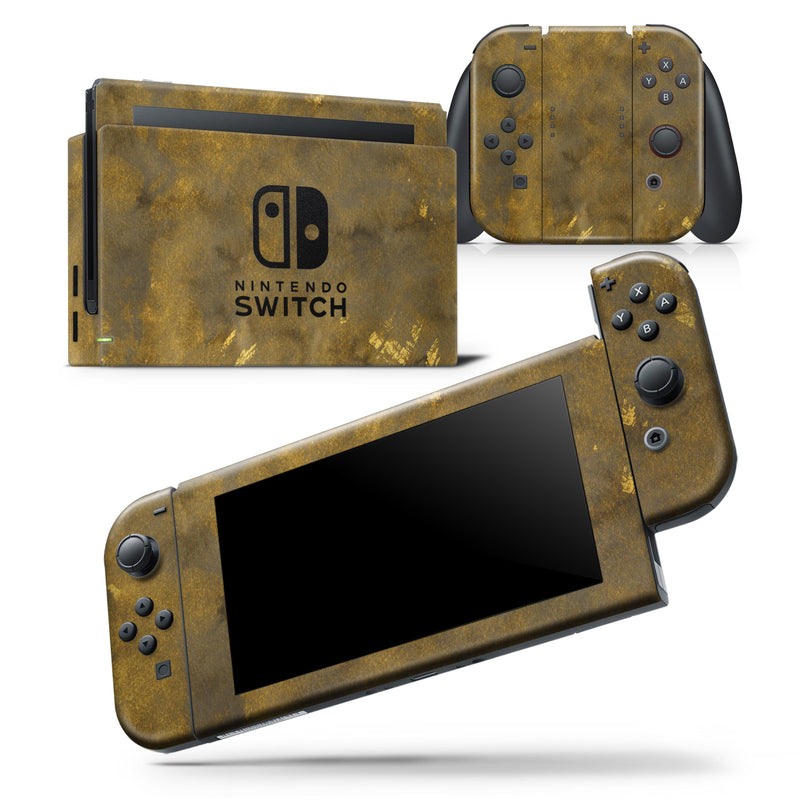 Grunge Watercolor with Golden Specks - Skin Wrap Decal for Nintendo Switch Lite Console & Dock - 3DS XL - 2DS - Pro - DSi - Wii - Joy-Con Gaming Controller