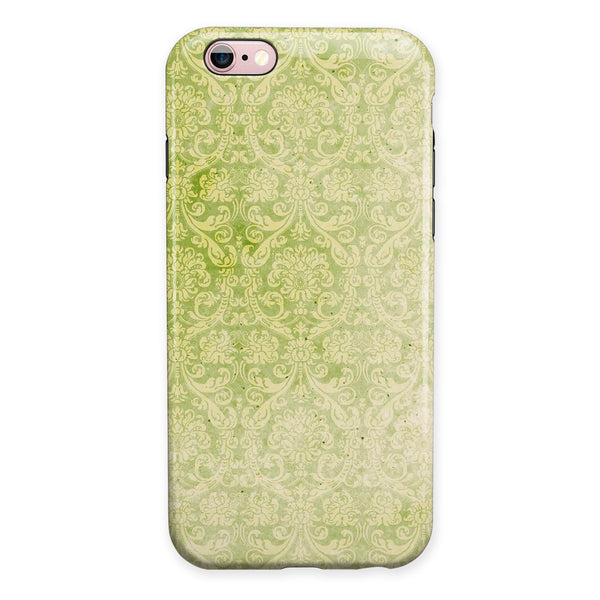 Grunge green Yellow Damask Pattern iPhone 6/6s or 6/6s Plus 2-Piece Hybrid INK-Fuzed Case