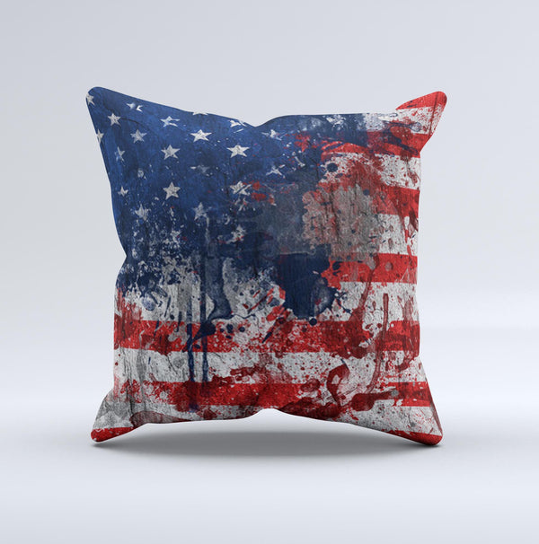 Grungy American Flag Ink-Fuzed Decorative Throw Pillow