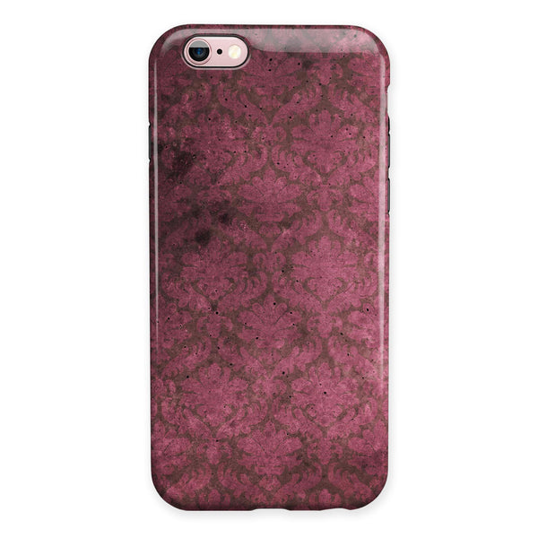 Grungy Black and Maroon Damask Pattern iPhone 6/6s or 6/6s Plus 2-Piece Hybrid INK-Fuzed Case