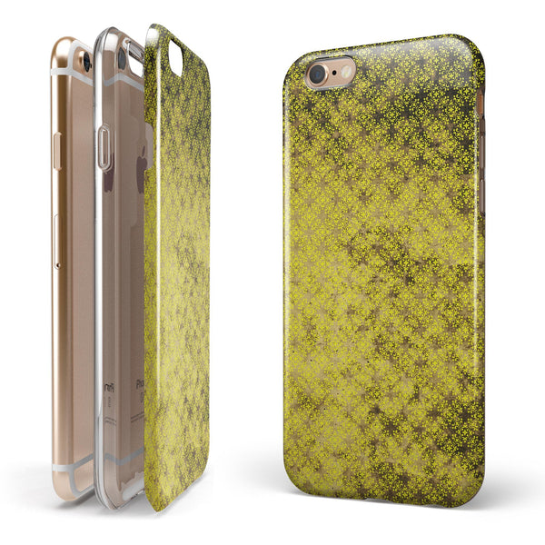 Grungy Black and Yellow Rococo Pattern iPhone 6/6s or 6/6s Plus 2-Piece Hybrid INK-Fuzed Case