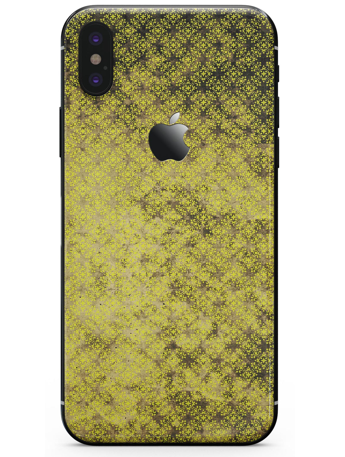 reputable site 32be3 36039 Grungy Black and Yellow Rococo Pattern - iPhone X Skin-Kit