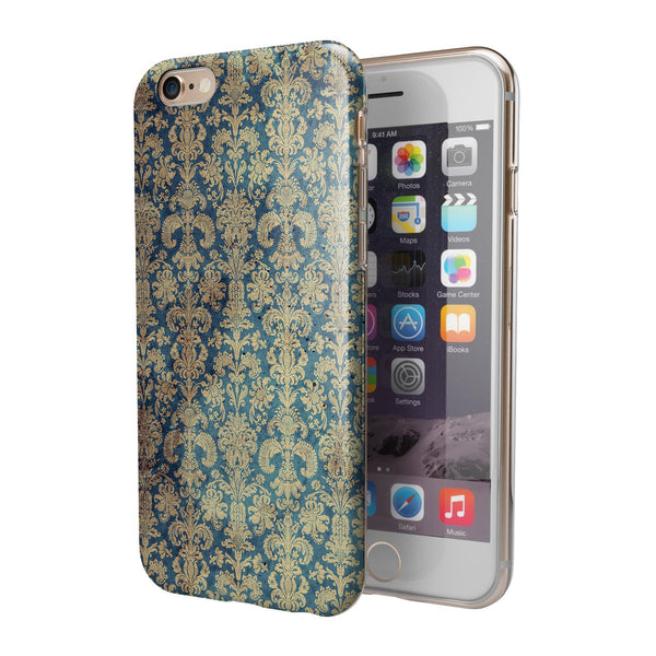 Grungy Blue and Tan Rococo Pattern iPhone 6/6s or 6/6s Plus 2-Piece Hybrid INK-Fuzed Case