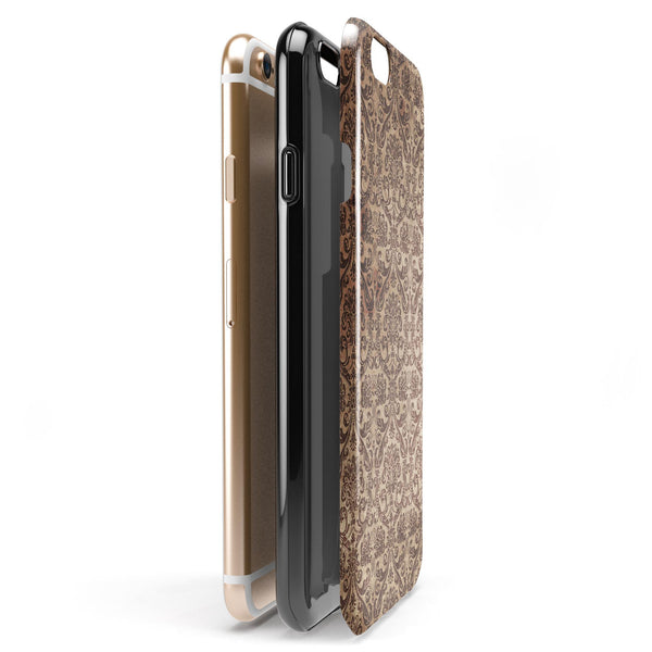 Grungy Brown and Tan Horizontal Rococo Pattern iPhone 6/6s or 6/6s Plus 2-Piece Hybrid INK-Fuzed Case