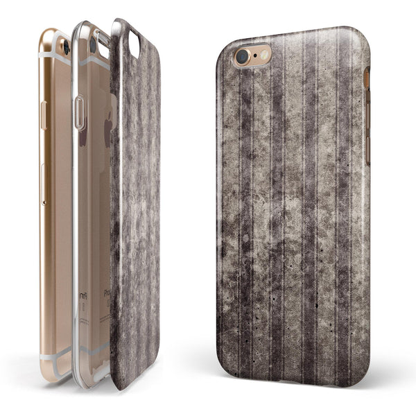 Grungy Brown and Tan Vertical Stripes iPhone 6/6s or 6/6s Plus 2-Piece Hybrid INK-Fuzed Case