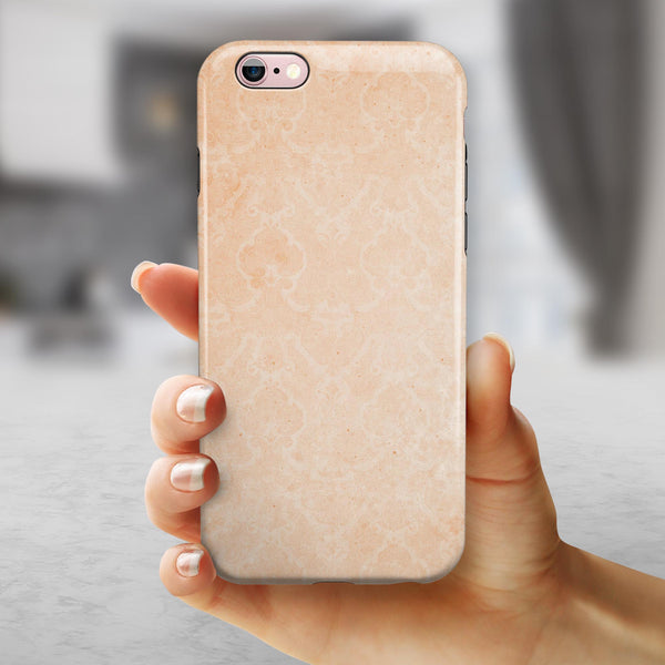 Grungy Coral Inflated Damask Pattern iPhone 6/6s or 6/6s Plus 2-Piece Hybrid INK-Fuzed Case