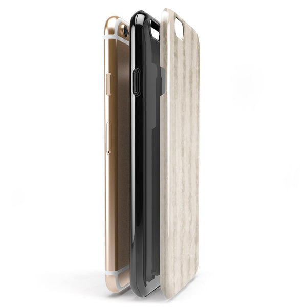 Grungy Neutral Vertical Stripes iPhone 6/6s or 6/6s Plus 2-Piece Hybrid INK-Fuzed Case