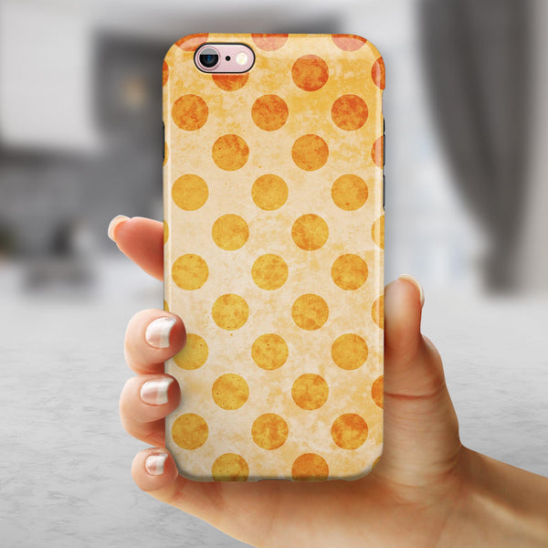 Grungy Orange Polka Dots Over Muted Coral iPhone 6/6s or 6/6s Plus 2-Piece Hybrid INK-Fuzed Case