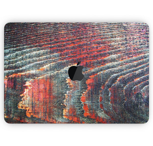 "Grungy Orange and Teal Dyed Wood Surface - Skin Decal Wrap Kit Compatible with the Apple MacBook Pro, Pro with Touch Bar or Air (11"", 12"", 13"", 15"" & 16"" - All Versions Available)"