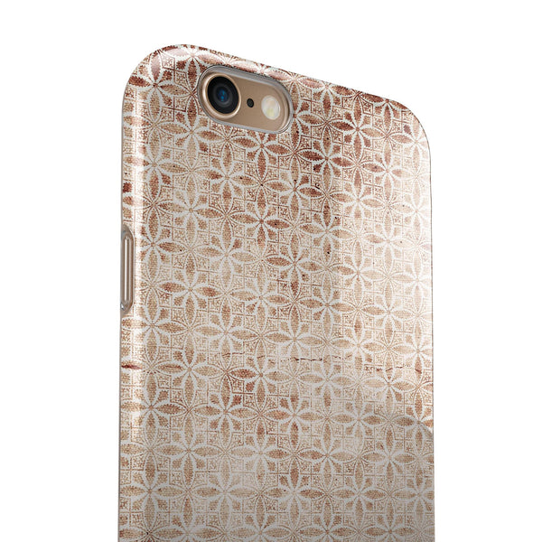 Grungy Tangerine Tile Pattern iPhone 6/6s or 6/6s Plus 2-Piece Hybrid INK-Fuzed Case