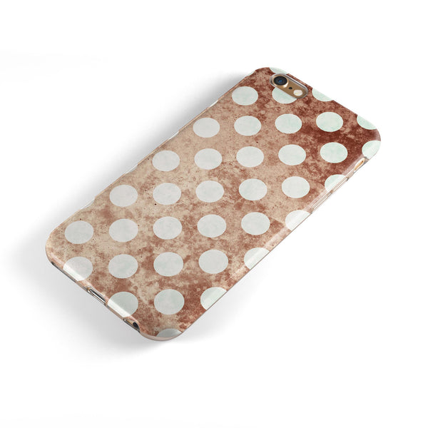 Grungy Tangerine with White Polka Dots  iPhone 6/6s or 6/6s Plus 2-Piece Hybrid INK-Fuzed Case