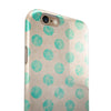Grungy Teal Polka Dots iPhone 6/6s or 6/6s Plus 2-Piece Hybrid INK-Fuzed Case