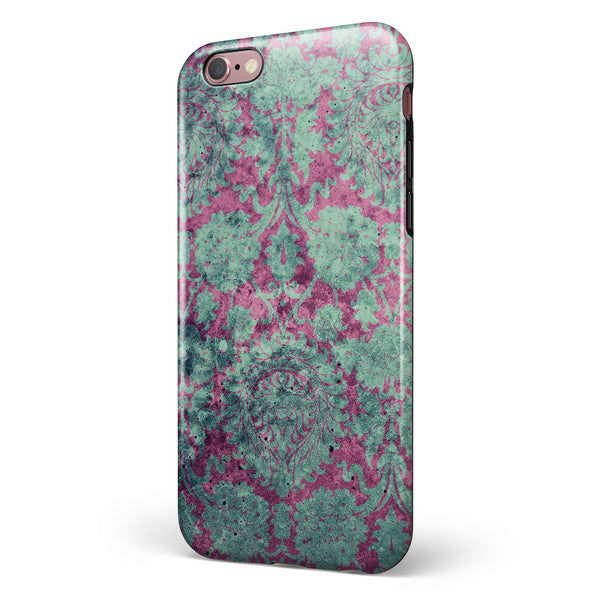 Grungy Teal and Pink Damask Pattern iPhone 6/6s or 6/6s Plus 2-Piece Hybrid INK-Fuzed Case