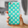 Grungy Teal and White Polka Dots iPhone 6/6s or 6/6s Plus 2-Piece Hybrid INK-Fuzed Case