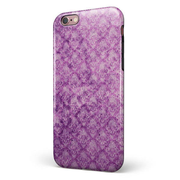 Grungy Violet Damask Pattern iPhone 6/6s or 6/6s Plus 2-Piece Hybrid INK-Fuzed Case