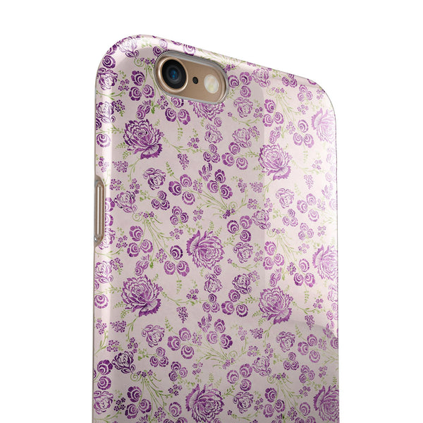 Grungy Violet Wildflower Pattern iPhone 6/6s or 6/6s Plus 2-Piece Hybrid INK-Fuzed Case