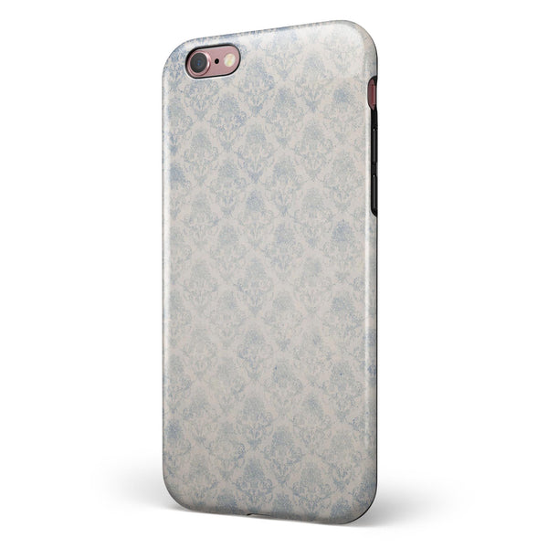 Grungy White and Blue Winter Damask  iPhone 6/6s or 6/6s Plus 2-Piece Hybrid INK-Fuzed Case