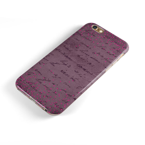 Hot Pink Micro Hearts Over Burgundy Script iPhone 6/6s or 6/6s Plus 2-Piece Hybrid INK-Fuzed Case