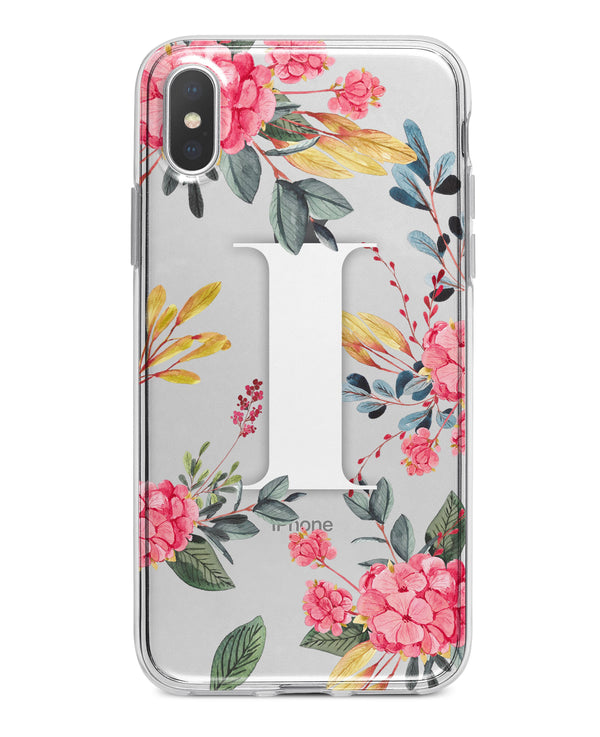 Floral Monogram - Crystal Clear Hard Case for the iPhone XS MAX, XS & More (ALL AVAILABLE)