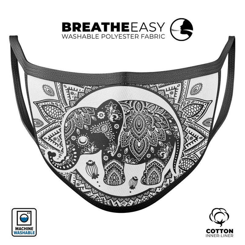 Indian Mandala Elephant - Made in USA Mouth Cover Unisex Anti-Dust Cotton Blend Reusable & Washable Face Mask with Adjustable Sizing for Adult or Child