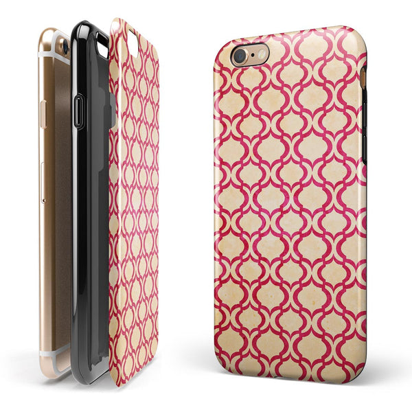 Inverted Pink and White Ovals Pattern iPhone 6/6s or 6/6s Plus 2-Piece Hybrid INK-Fuzed Case