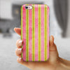 Inverted Yellow and Red Verticle Stripes iPhone 6/6s or 6/6s Plus 2-Piece Hybrid INK-Fuzed Case