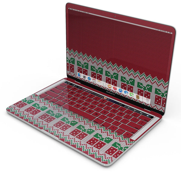 "Knitted Ugly Christmas Sweater V6 - Skin Decal Wrap Kit Compatible with the Apple MacBook Pro, Pro with Touch Bar or Air (11"", 12"", 13"", 15"" & 16"" - All Versions Available)"