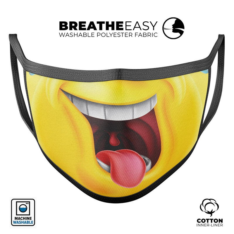 Laughing Emoji V1 - Made in USA Mouth Cover Unisex Anti-Dust Cotton Blend Reusable & Washable Face Mask with Adjustable Sizing for Adult or Child