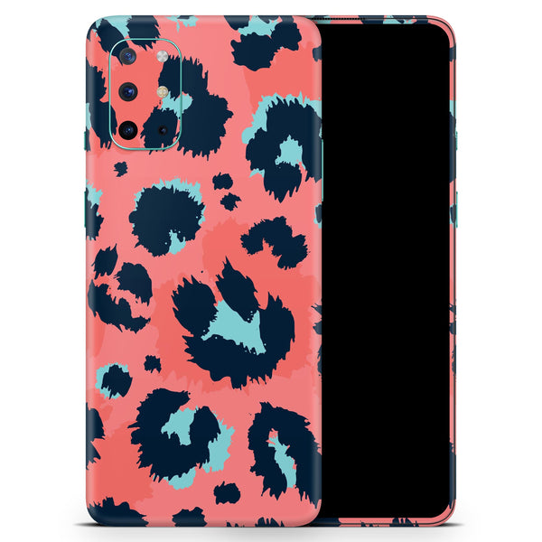 Leopard Coral and Teal V23 - Full Body Skin Decal Wrap Kit for OnePlus Phones