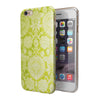 Lime Green Floral Rococo Pattern iPhone 6/6s or 6/6s Plus 2-Piece Hybrid INK-Fuzed Case