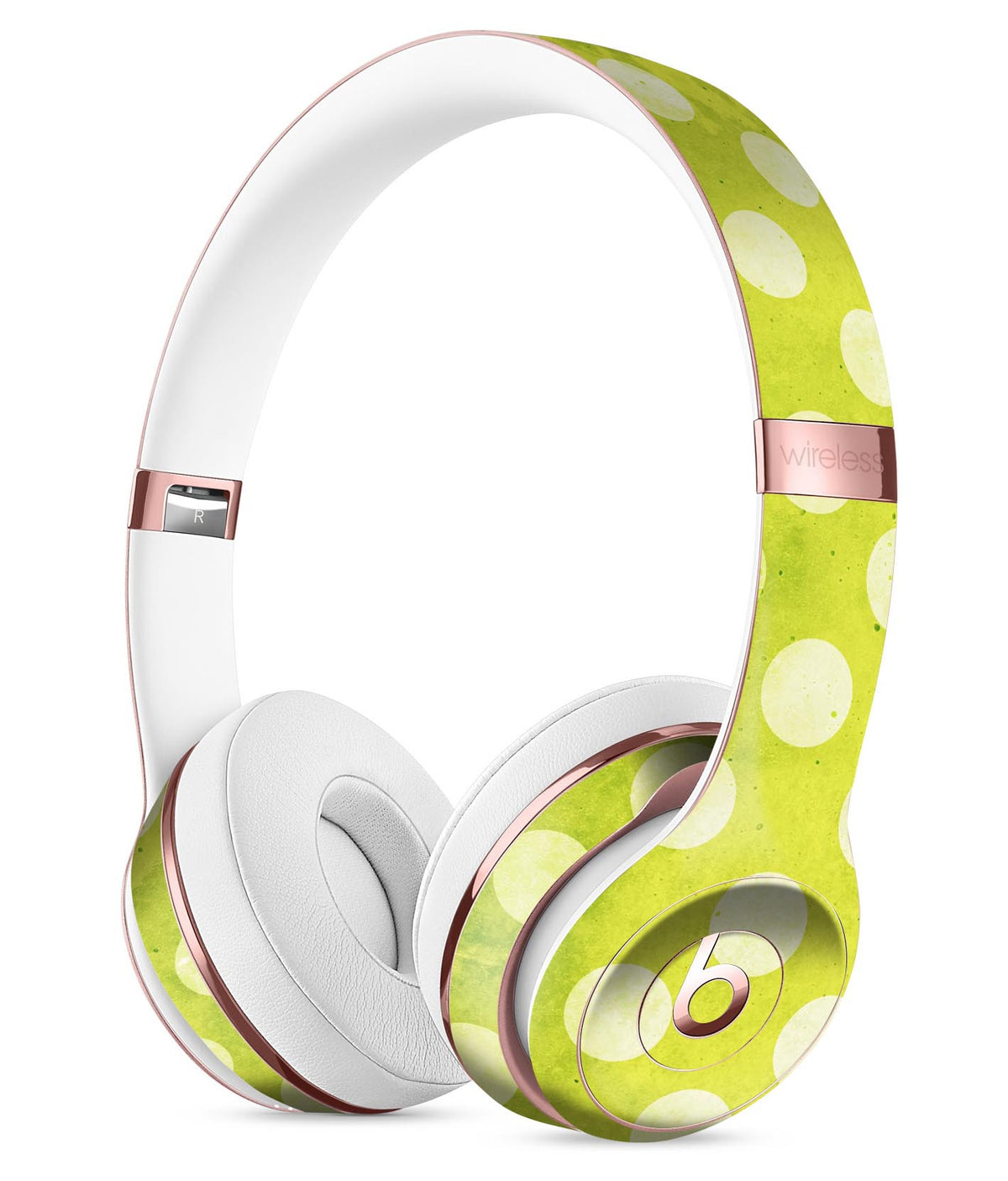 Lime Green And White Polkadots Full Body Skin Kit For The Beats By