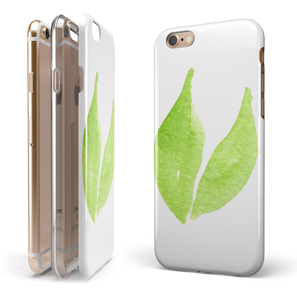 Lime Watercolor Leaves iPhone 6/6s or 6/6s Plus 2-Piece Hybrid INK-Fuzed Case