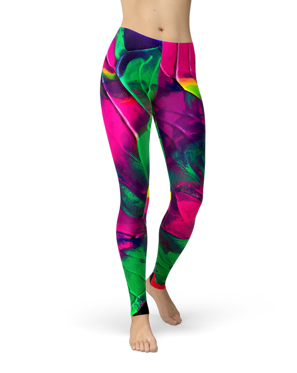 Liquid Abstract Paint V12 - All Over Print Womens Leggings / Yoga or Workout Pants