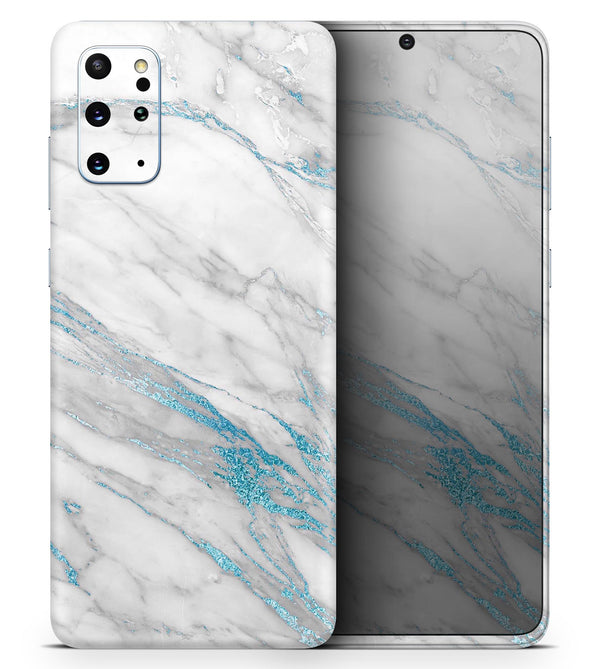 Marble & Digital Blue Frosted Foil V8 2 - Skin-Kit for the Samsung Galaxy S-Series S20, S20 Plus, S20 Ultra , S10 & others (All Galaxy Devices Available)